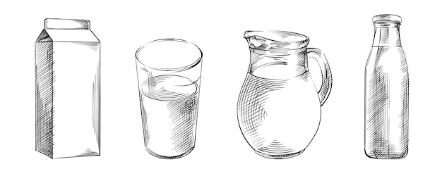 Hand-drawn sketch set of milk in different containers. set includes milk in a glass, milk in a glass bottle, milk in a jug, milk in a carton box
