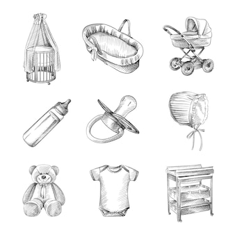Hand-drawn sketch of set for a newborn. stroller, cradle, crib, teddy bear, cotton hat, short-sleeved bodysuit, cradle, changing table, bottle with a pacifier