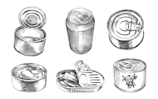 Набор рисованной эскиз банок. в комплект входят консервная банка, банка для рыбы, консервы из консервов, открытая банка, закрытая банка, вид сверху
