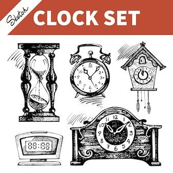 時計と時計の手描きスケッチセット