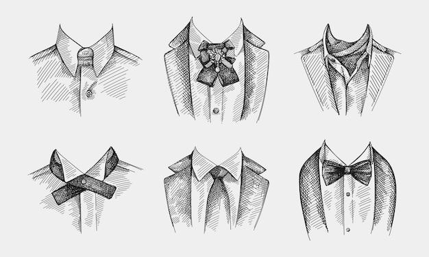 ネクタイ付きカラーの手描きスケッチセット。ネクタイなしの襟、蝶ネクタイとブローチピン、クラバットネッカチーフ付きの襟、大陸ネクタイ、パターンのないシンプルな伝統的なネクタイ