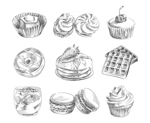 Рисованный эскиз набор десертов. в набор входят профитроли, чизкейк, блины, бублик, булочка, вафли, макароны; маффин со сливками, маффин с вишней, бизе, сладости