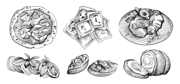 イタリアcuisisneの手描きスケッチセット。ブルスケッタ、子牛チョップミラネーゼ、ミート&チーズフィリングのイタリアンラビオリ、バルサミコ釉薬のカプレーゼサラダ、ポルケッタポークロースト、ナポリピッツァ