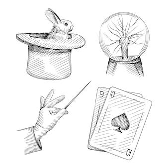 マジシャン属性の手描きスケッチセット。フォーカス、マジシャン、マジック、サーカス、欺瞞の幻想。杖を持った魔法使いの手、幻想的な魔法のプラズマボール、魔法のカード、魔法使いの帽子をかぶったウサギ