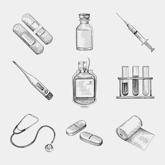 医療パッチ、石膏、ガラス瓶、注射器、デジタル体温計、輸血バッグ、液体入り医療用チューブ、聴診器、2つの長い錠剤、包帯ロールの手描きスケッチセット