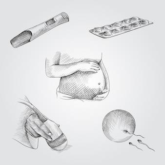 손으로 그린 스케치 임신 특성 집합입니다. 세트 임신 테스트, 알약, 임신 한 여자는 그녀의 배꼽을 잡고 초음파 스캐너를 손에 계란 난자가 정자를 충족