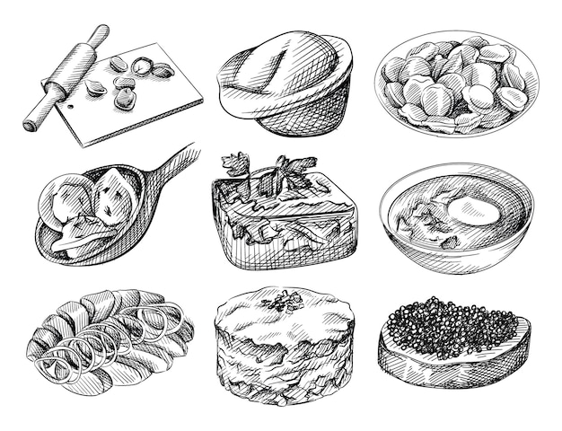 Набор рисованной эскиз русской кухни. доска с пельменями и скалкой, пельмени в тарелке, пельмени на ложке, заливное, блюдо из желатина, борщ со сметаной, сельдь копченая и картофель, салат