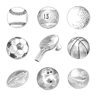 Набор рисованной эскиз спортивных мячей. набор включает в себя бильярдный шар, футбольный мяч, теннисный мяч, волейбольный мяч, мяч для регби, мяч для настольного тенниса, мяч для гольфа, баскетбольный мяч, шар для боулинга, мяч для гандбола