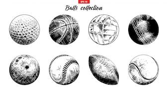 スポーツボールの手描きのスケッチセット
