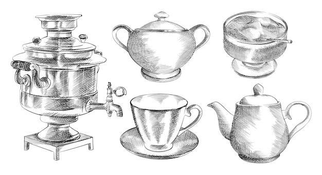 차 식기의 손으로 그린 스케치 세트입니다. 세트에는 사모바르 차 주전자, 주전자, 숟가락이 든 설탕 그릇, 유리 및 접시, 우유 주전자가 포함됩니다.