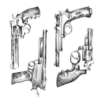 ビンテージの拳銃の手描きのスケッチセット。セットには、リボルバー、ピストル、ライフル、ショットガン、コルト、ネイビーアームが含まれます