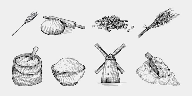 밀과 밀가루의 손으로 그린 스케치 세트 밀가루 성분. 밀과 밀가루 생산 및 제작. 밀 귀; 그릇에 밀가루, 롤링 핀 및 반죽; 풍차 비슷한 것; 밀가루 삽 밀 곡물