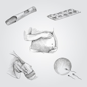 Hand-drawn sketch set of pregnancy attributes. set includes pregnancy test, pills, pregnant woman holding her belly,  ultrasound scanner in hand, egg meets sperm