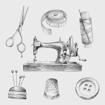 Hand-drawn sketch set of sewing attributes. set includes centimeter band, scissors, thread with a needle, antique sewing machine, button, pillow with needles, thimble