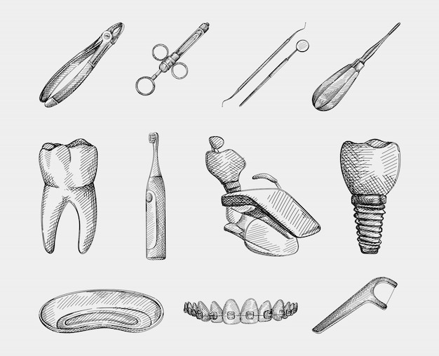 Hand-drawn sketch set of stomatology attributes. tooth; floss toothpick; toothbrush; elevator; scaler, dental mirror, dental syringe, chair; medical plate; teeth and braces; tooth implant; forceps