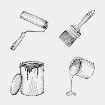 Hand-drawn sketch set of tools for painting walls. set includes a wall paint roller, an opened paint can with lid neat the can, paint can with paint flowing out of the can, wall paint brush.
