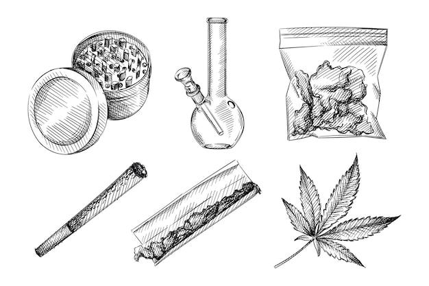 Hand drawn sketch set of weed smoking tools. marijuana smoking.