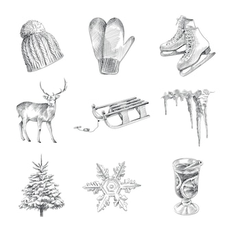 Hand-drawn sketch set of winter time. the set consists of knitted hat, sled, deer, tree, ice skates, snowflake, icicle, glass of mulled wine, woolen gloves