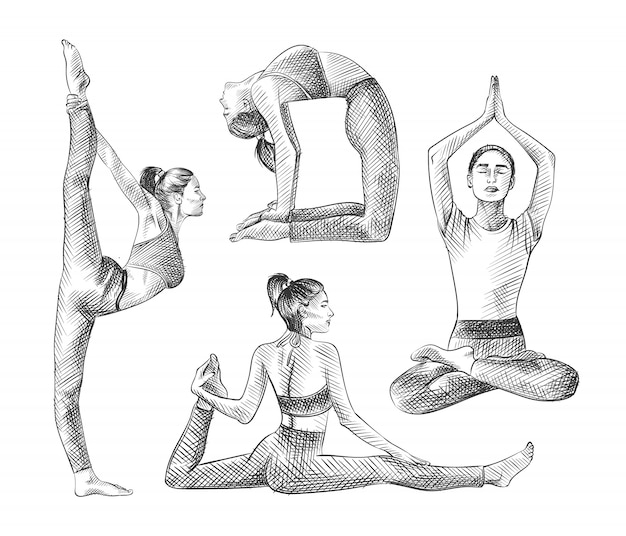 Hand-drawn sketch set of yoga time. set includes girl in different poses and asans. camel pose, monkey or crooked pose, lotus pose, lord of the dance pose