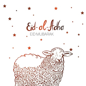 Hand drawn sketch of sheep sacrifice animal to festive banners of eid-al-fitr. vector illustration to muslim holidays.
