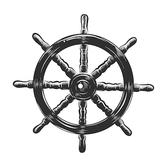 Hand drawn sketch of ship wheel in monochrome