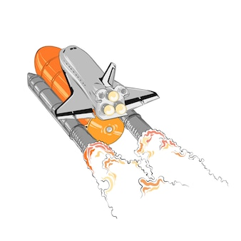 Hand drawn sketch of shuttle in color, isolated Premium Vector