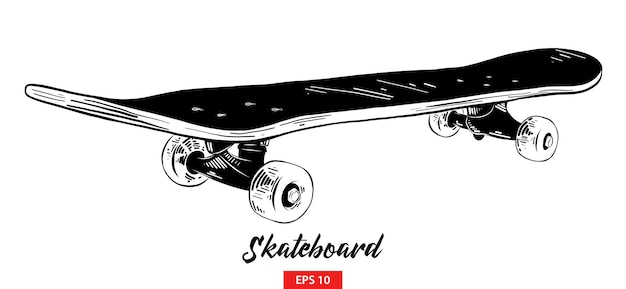 Hand drawn sketch of skateboard in black