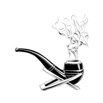 Hand drawn sketch of smoking pipe in black
