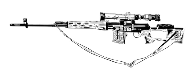 Hand drawn sketch of sniper rifle in black