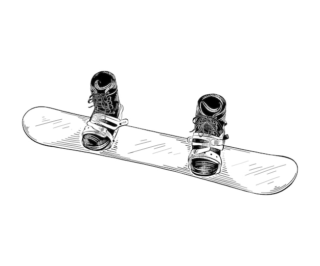 Hand drawn sketch of snowboard in black