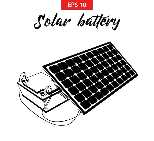 Hand drawn sketch of solar battery panel