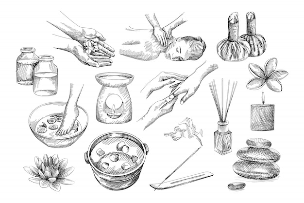 Hand-drawn sketch of spa set tools. flower in hands, foot soaking in bowl with lemons, bowl with flower petals, back and hands massage, herbal pouches, candle burner, jars, aroma stick, stones, lotus
