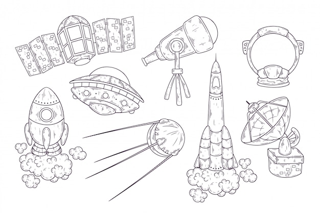 Hand drawn sketch of space elements collection