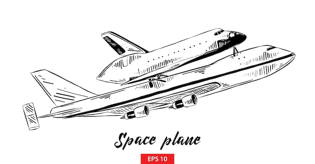 Hand drawn sketch of space plane in black