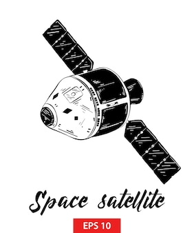 Hand drawn sketch of space satellite in black