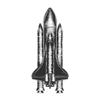 Hand drawn sketch of spaceship in monochrome