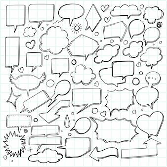Hand drawn sketch speech bubble set design