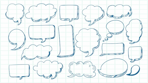 Hand drawn sketch speech bubble set