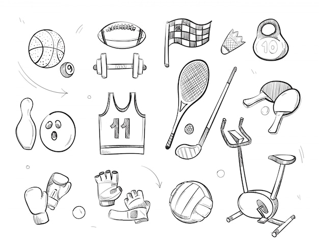 Hand drawn sketch sports fitness equipment
