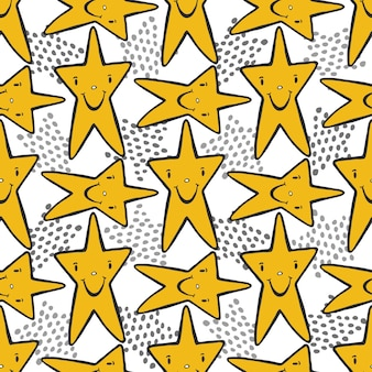 Hand drawn sketch stars seamless pattern. childish background for textile or wrapping