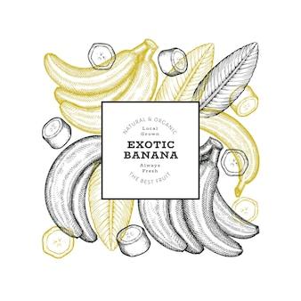 손으로 그린 스케치 스타일 바나나 배너입니다. 유기농 신선한 과일 벡터 일러스트 레이 션. 레트로 이국적인 과일 디자인 서식 파일