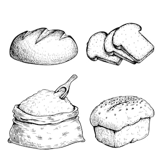 Hand drawn sketch style bread set. bun, loaf, sliced bread and flour bag with a wooden spoon. organic food. fresh daily bakery products.   illustrations.