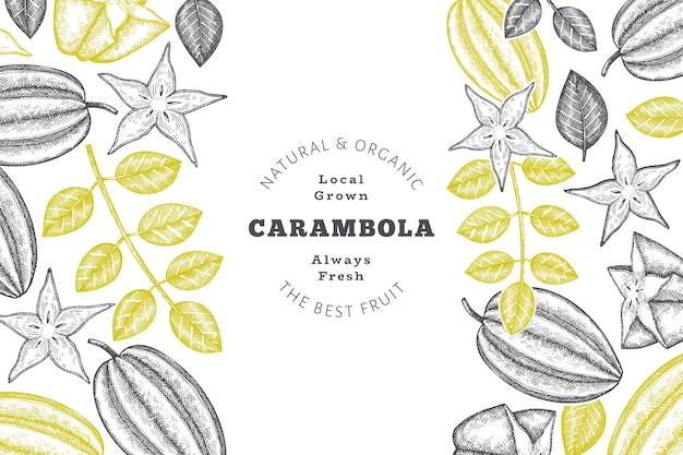 Hand drawn sketch style carambola background. organic fresh fruit. retro fruit