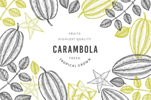 手描きのスケッチスタイルのゴレンシのバナー。有機の新鮮な果物のイラスト。レトロなフルーツテンプレート