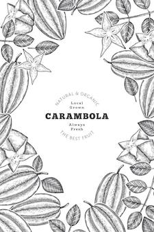 Hand drawn sketch style carambola banner. organic fresh fruit  illustration. retro fruit  template