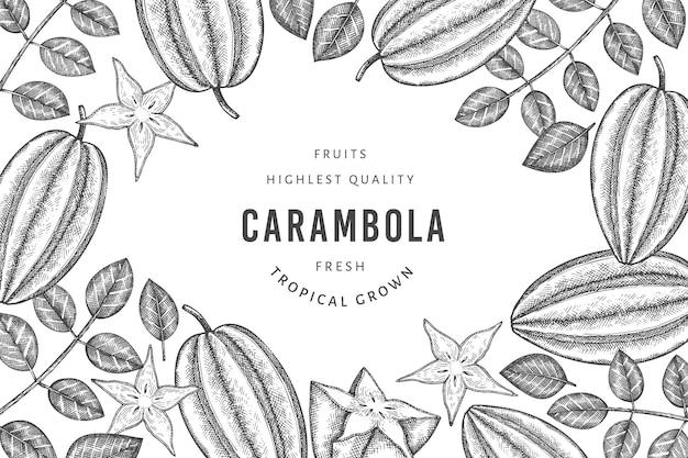 Ручной обращается эскиз стиля карамболы баннера. иллюстрация органических свежих фруктов. ретро фруктовый шаблон