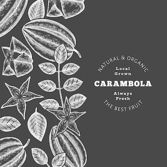 손으로 그린 스케치 스타일 카람볼라 배너입니다. 분필 보드에 유기농 신선한 과일 벡터 일러스트입니다. 레트로 과일 디자인 서식 파일