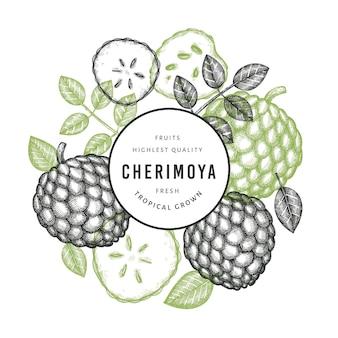 手描きスケッチスタイルのチェリモヤバナー。白い背景の上の有機の新鮮な果物のイラスト。刻まれたスタイルの植物のテンプレート。