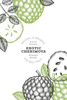 손으로 그린 스케치 스타일 체리모야 배너입니다. 유기농 신선한 과일 벡터 일러스트 레이 션. 새겨진 스타일 식물 디자인 템플릿입니다.