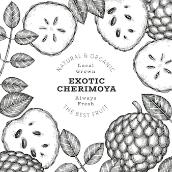 Hand drawn sketch style cherimoya label template